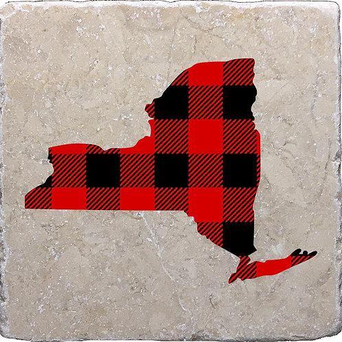 Buffalo Plaid Silhouette New York Coaster