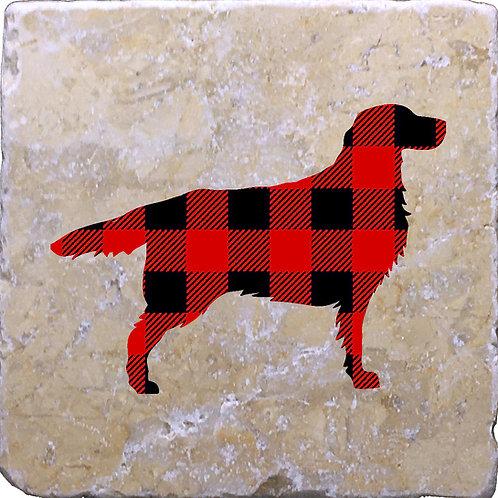 Dog Buffalo Plaid Coaster