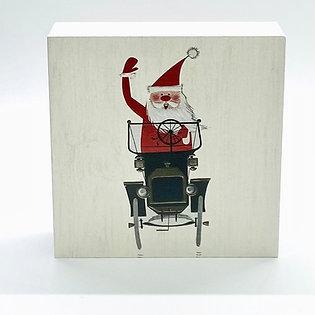 Christmas Santa in Model T Car Art Block