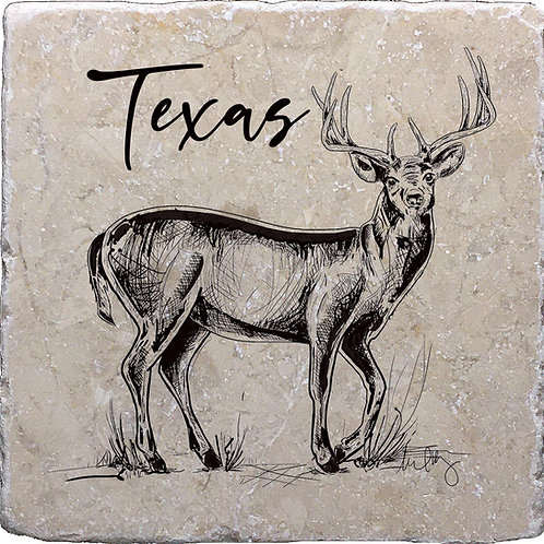 Texas Hand Drawn Buck Coaster