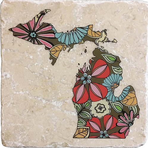 Michigan Summer Flowers Coaster