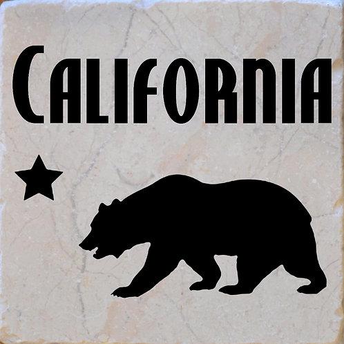 California Word Bear Star Coaster