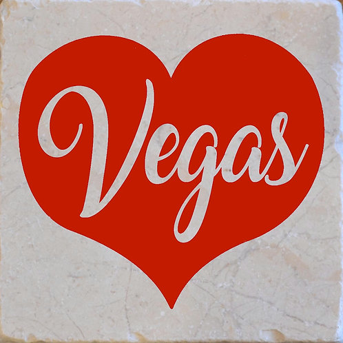 Red Vegas Heart Coaster