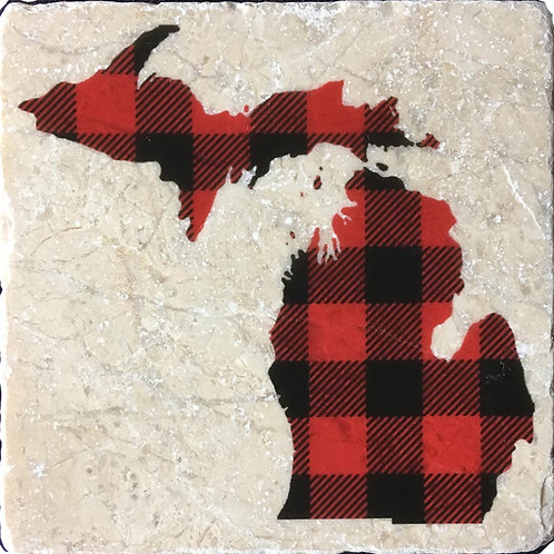 Buffalo Plaid Michigan Coaster