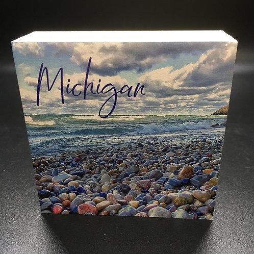Michigan Waves & Rocks Art Block