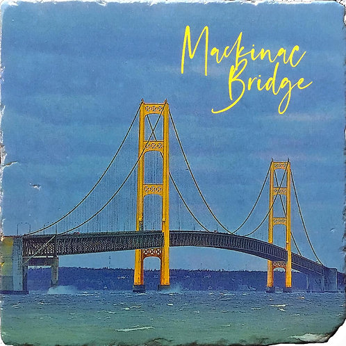 Mackinac Bridge in color Coaster