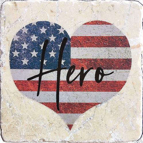 Hero American Flag Heart Coaster