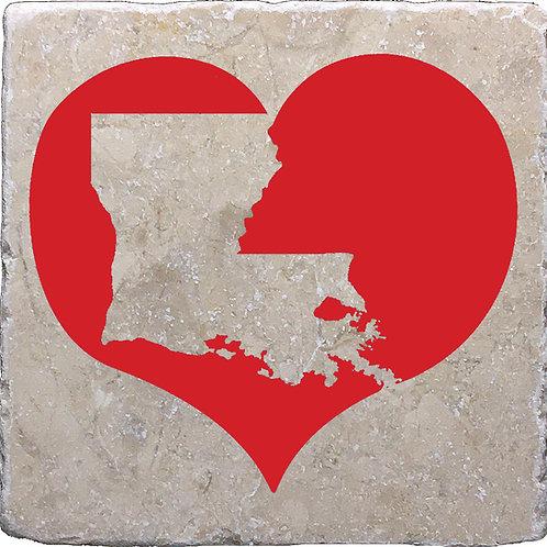 Louisiana Silhouette Heart Coasters
