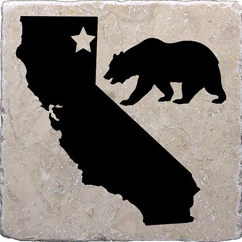California Bear Star w/ CA Silhouette Coaster