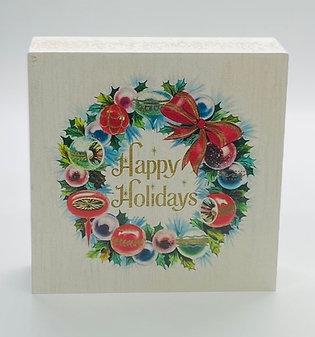 Happy Holidays Wreath Art Block