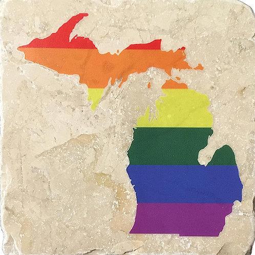"""""""Your State Silhouette"""" LGBTQ+ Pride Coaster"""