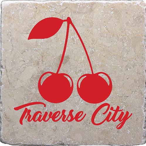 Red Traverse City Cherry Coaster
