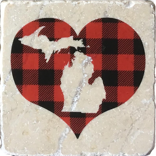 Buffalo Plaid Heart Michigan Coaster