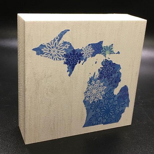 Michigan Winter Snowflakes Art Block