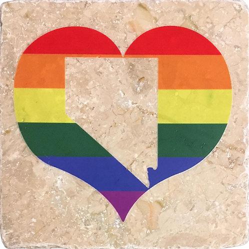 """Your State"" LGBTQ+ Pride Heart Coaster"