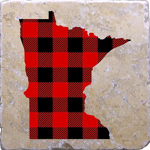 Minnesota Buffalo Plaid Coaster