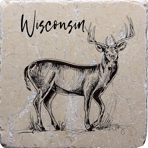 Wisconsin Buck (hand drawn) Coaster