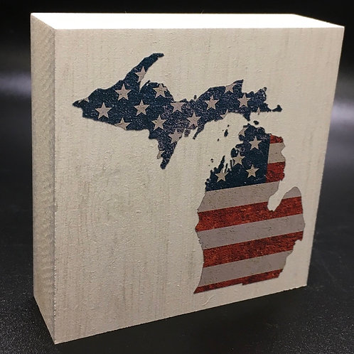 "American Flag ""Your State"" Art Block"