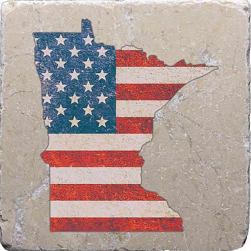 Minnesota American Flag Coaster