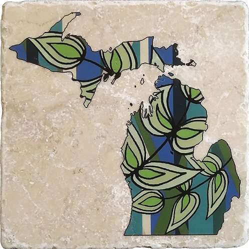 Michigan Spring Leaves Coaster