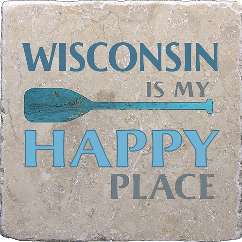 Wisconsin is my Happy Place Coaster