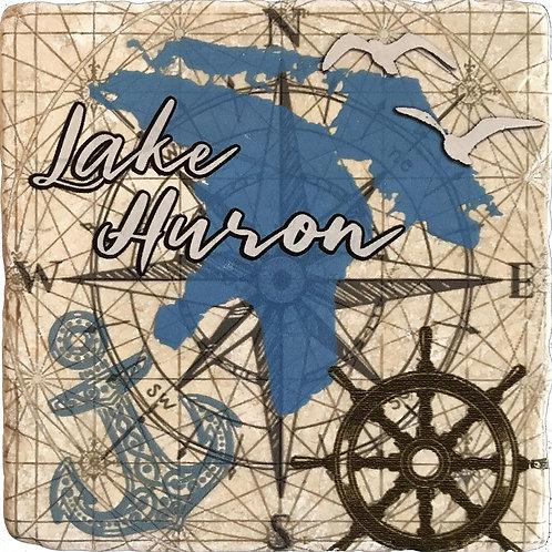 Nautical Lake Huron Coaster