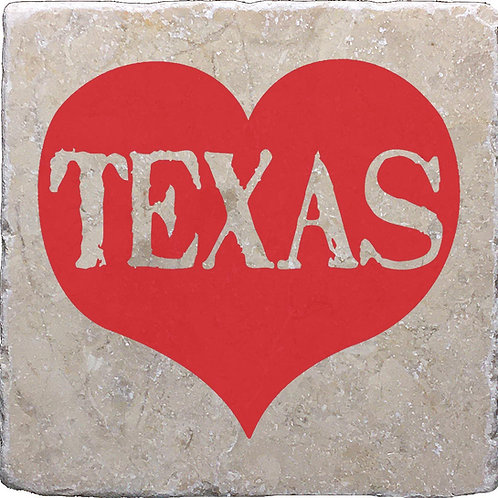Texas Word Heart Coaster