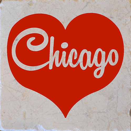 Chicago Word Red Heart Coaster