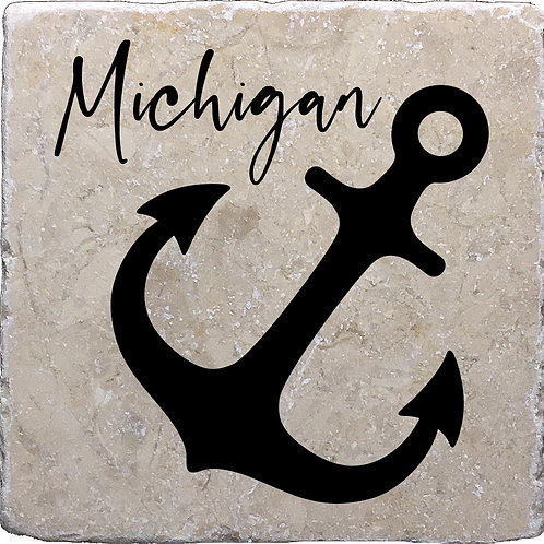 Anchor Basic Black Michigan Coaster