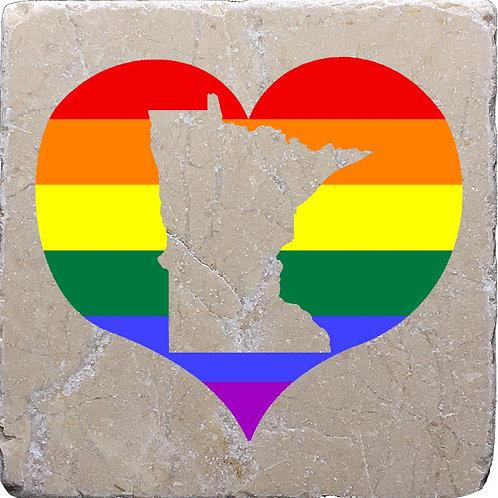 Minnesota LGBTQ+ Pride Heart Coaster