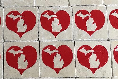 Red Heart Michigan Coaster