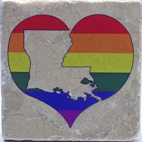 Louisiana Pride Heart Coaster
