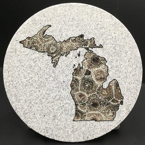 Car Coaster 2-Pack - Michigan Petoskey Stone