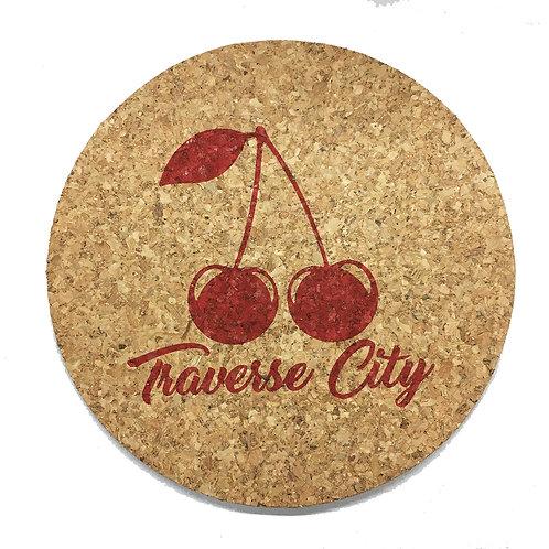 Red Traverse City Cherries Cork Trivet or Coaster