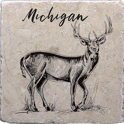 Michigan Buck (hand drawn) Coaster