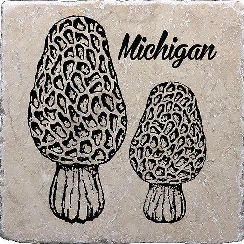 Michigan Morels Black Coaster
