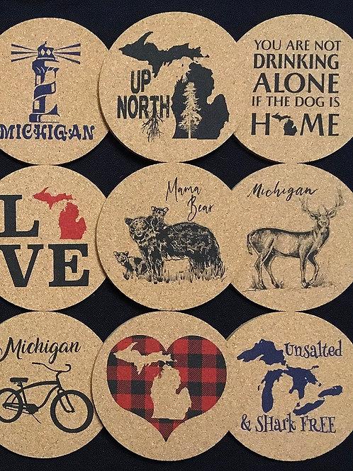 "Michigan ""You Choose"" Cork Trivet or Coaster"