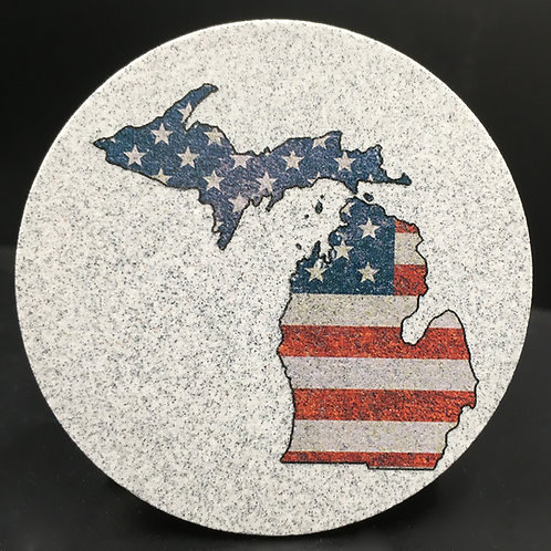 Car Coaster 2-Pack - Michigan American Flag