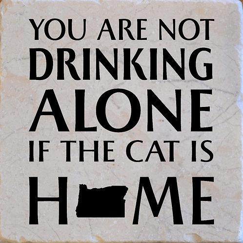 Drinking Alone Cat Oregon Coaster