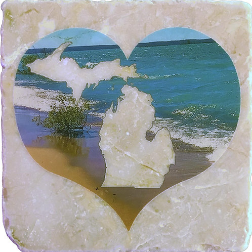 Shoreline Michigan Heart Coaster