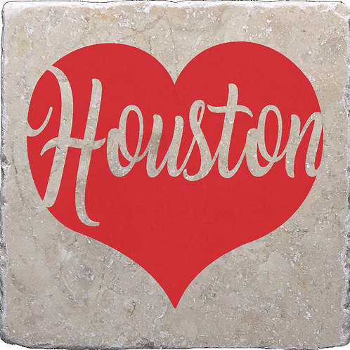 Houston Word Red Heart Coaster