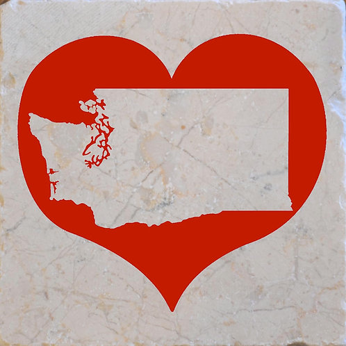 Washington State Red Heart Coaster