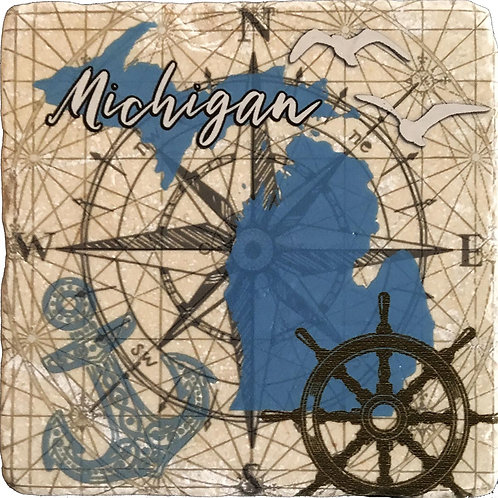 Nautical Michigan Coaster