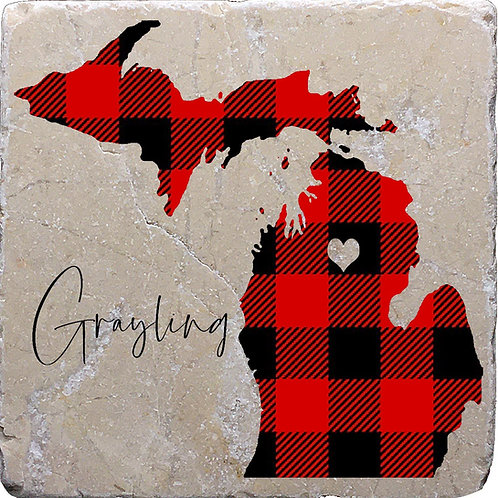Grayling Michigan Buffalo Plaid Coaster