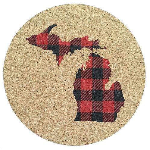 "Buffalo Plaid ""Your State"" Cork Trivet or Coaster"