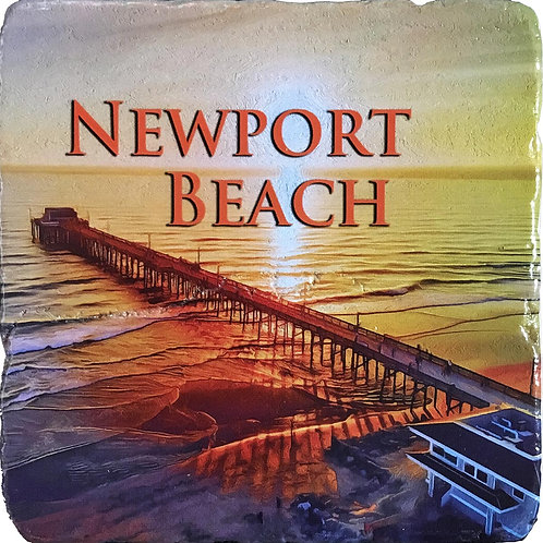 Newport Beach Pier at Sunset Coaster in Color