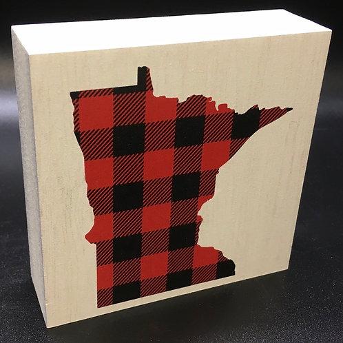 "Buffalo Plaid ""Your State"" Art Block"