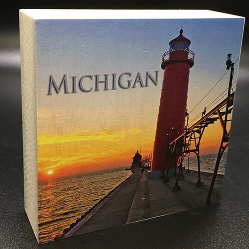 Michigan Lighthouse Art Block