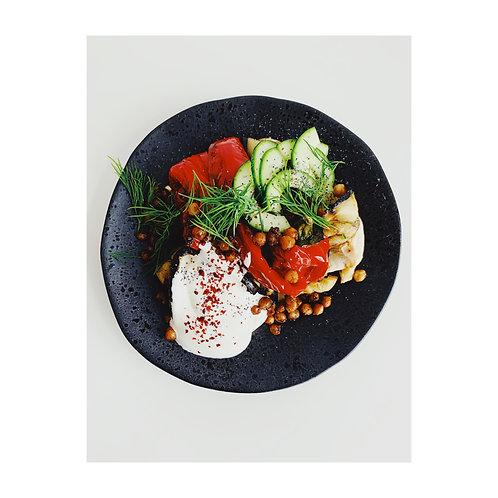 THE MODERN TABLE Roasted faro, beans, peas, burrata, coriander seed