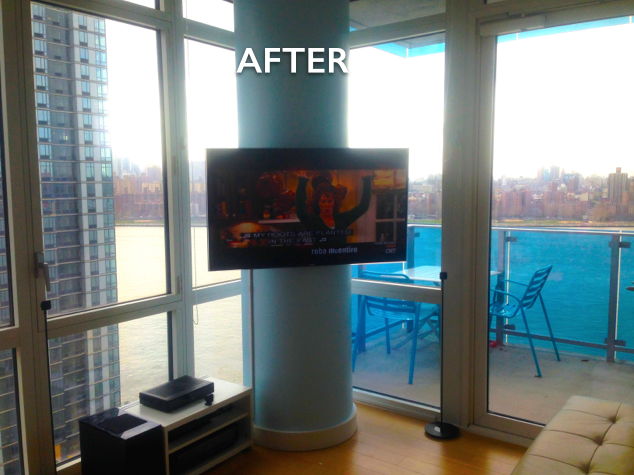 Concrete column TV installation
